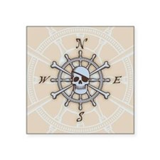 "ship-wheel-sk-BUT Square Sticker 3"" x 3"""