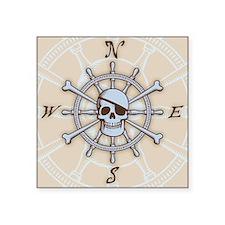 """ship-wheel-sk-PLLO Square Sticker 3"""" x 3"""""""