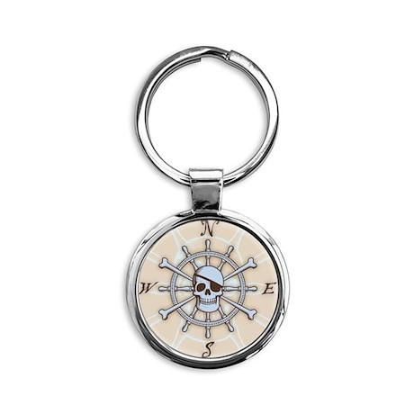 ship-wheel-sk-PLLO Round Keychain