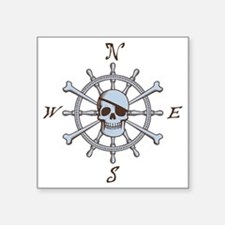 "ship-wheel-sk-LTT Square Sticker 3"" x 3"""