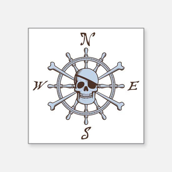 "ship-wheel-sk-LTT Square Sticker 3"" x 3"""