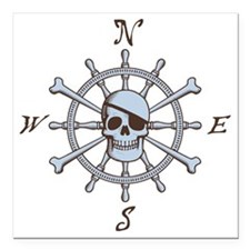 "ship-wheel-sk-LTT Square Car Magnet 3"" x 3"""