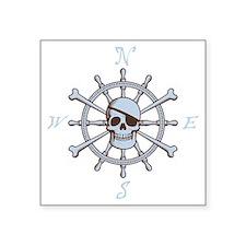 "ship-wheel-sk-DKT Square Sticker 3"" x 3"""
