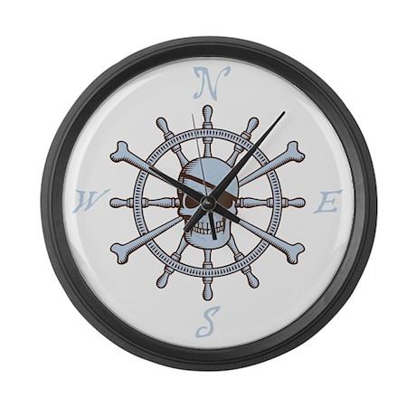 ship-wheel-sk-DKT Large Wall Clock