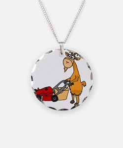 Goat Pushing Lawn Mower Necklace