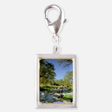 Countryside Creek and Trees Silver Portrait Charm