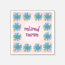 "retired nurse pink backgrou Square Sticker 3"" x 3"""