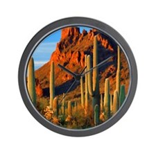 Arizona Desert Saguaro Cactus and Mount Wall Clock