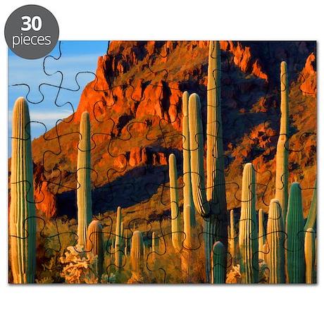 Arizona Desert Saguaro Cactus and Mountains Puzzle