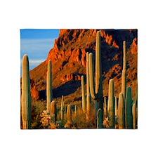 Arizona Desert Saguaro Cactus and Mo Throw Blanket