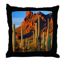 Arizona Desert Saguaro Cactus and Mou Throw Pillow