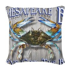 Chesapeake Bay Blues Woven Throw Pillow