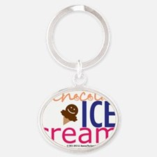 Chocolate Ice Cream Title Oval Keychain
