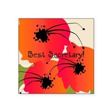 "Best Secretary Square Sticker 3"" x 3"""