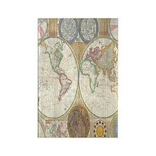 Vintage World Map Rectangle Magnet