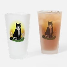 Tuxedo Cat with Daisies Drinking Glass