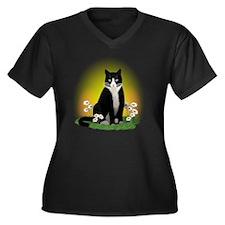 Tuxedo Cat w Women's Plus Size Dark V-Neck T-Shirt