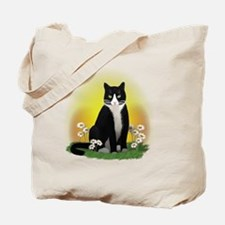 Tuxedo Cat with Daisies Tote Bag