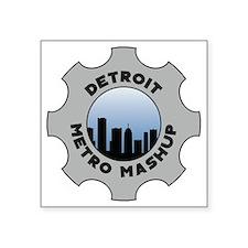 "Detroit Metro Mashup Logo Square Sticker 3"" x 3"""