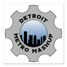 """Detroit Metro Mashup Log Square Car Magnet 3"""" x 3"""""""