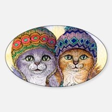 The knitwear cat sisters Sticker (Oval)