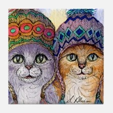 The knitwear cat sisters Tile Coaster