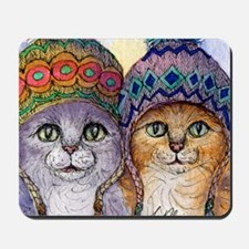 The knitwear cat sisters Mousepad