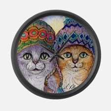 The knitwear cat sisters Large Wall Clock