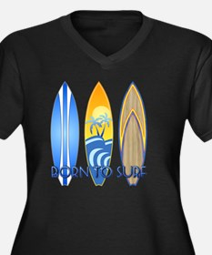 Born 2 Surf Women's Plus Size Dark V-Neck T-Shirt