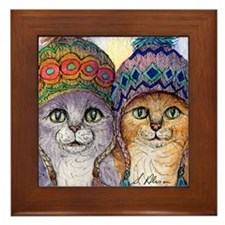 The knitwear cat sisters Framed Tile