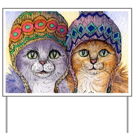 The knitwear cat sisters Yard Sign