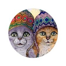 "The knitwear cat sisters 3.5"" Button"