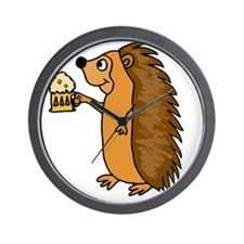 Hedgehog with a Beer Wall Clock