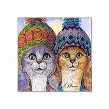 """The knitwear cat sisters Square Sticker 3"""" x 3"""""""