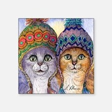 "The knitwear cat sisters Square Sticker 3"" x 3"""