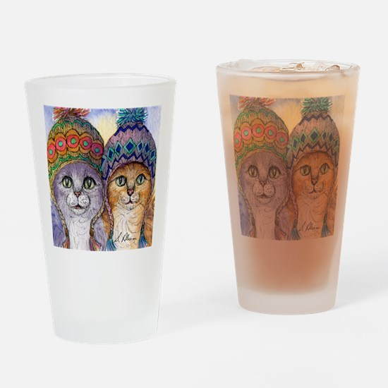The knitwear cat sisters Drinking Glass