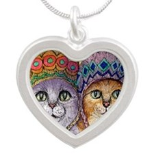 The knitwear cat sisters Silver Heart Necklace