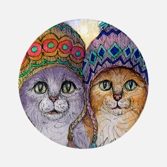 The knitwear cat sisters Round Ornament