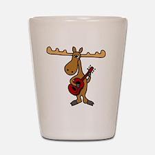 Funny Moose Playing Guitar Shot Glass