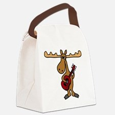 Funny Moose Playing Guitar Canvas Lunch Bag