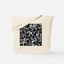 Elegant Black and White Scroll Pattern Tote Bag