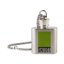 Zebra Polka Dots Lime Green Flask Necklace