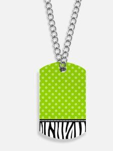 Zebra Polka Dots Lime Green Dog Tags