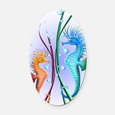 Seahorses Cartoon Oval Car Magnet