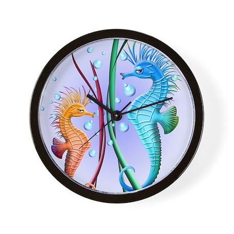 Seahorses Cartoon Wall Clock
