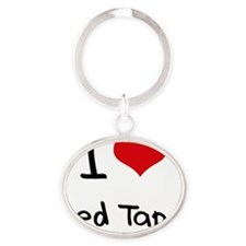 I Love Red Tape Oval Keychain