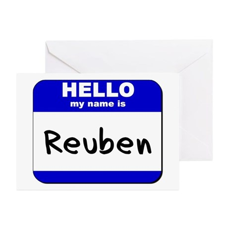hello my name is reuben Greeting Cards (Package o