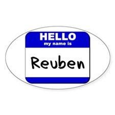 hello my name is reuben Oval Decal