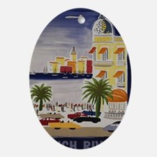 Vintage French Riviera Travel Ad Oval Ornament