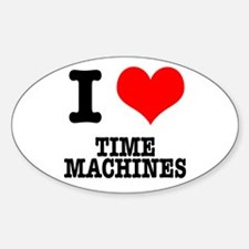 I Heart (Love) Time Machines Oval Decal